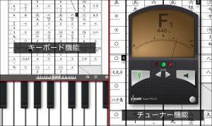 Piascore キーボード機能、チューナー機能