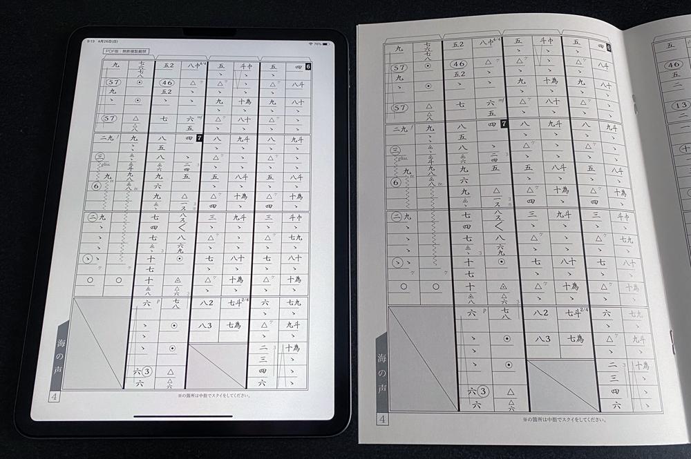 iPad画面と楽譜の大きさ比較