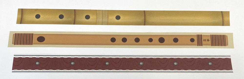 3種和楽器マスキングテープ(ほうがくのわ 尺八、立平 篠笛、TAIKO-LAB 和太鼓)